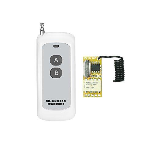 Festnight 433 MHz DC 3,7 V 4,5 V 5 V 6 V 7,4 V 9 V 12 V Universal Wireless Fernbedienung Schalter, Mini 1CH RF Funkschalter + 2 Taste Fernbedienungen des Senders