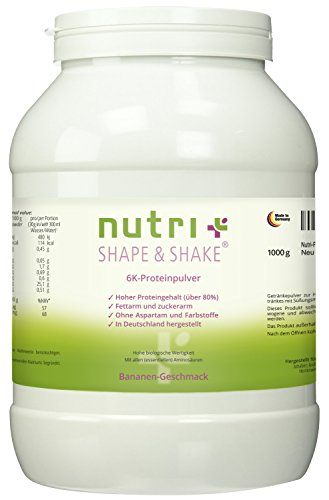 Proteinpulver 1kg Banane - Nutri-Plus Shape & Shake Banane ohne Aspartam - Mit Whey + Casein - Dose inkl. Dosierlöffel - 6k-Eiweißpulver