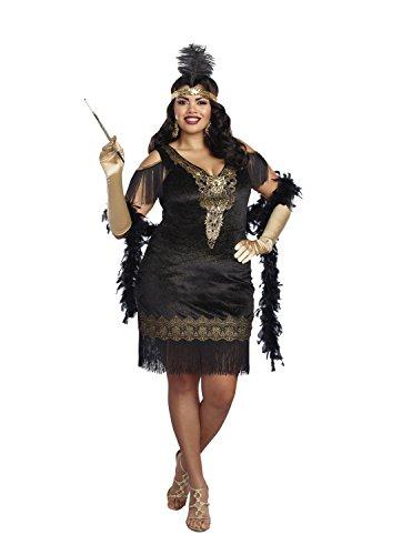 Dreamgirl 10700X Swanky Flapper Kostüm, - Schwarzes Flapper Für Erwachsene Plus Kostüm