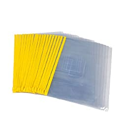 Uxcell PVC Slider Zip A4 Paper Bags Files Holder, 20 Pieces, Yellow Clear (a13020100ux0651)