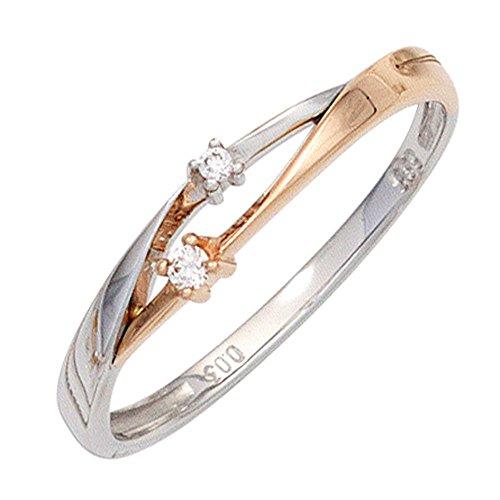 *GIRAHLUTIONS* Damen Ring 585 Gold Weißgold Rotgold bicolor 2 Diamanten Brillanten Goldring