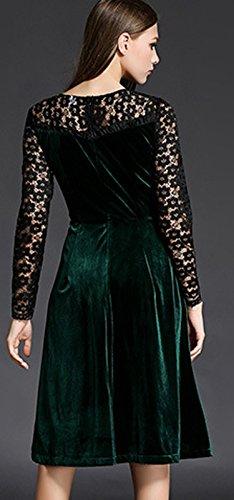 ZEARO Partykleider Damen Kleider Abendkleider Cocktailkleider Velour Langarm Langes Maxi Plissee Schwingen-Kleid Dunkelgrün