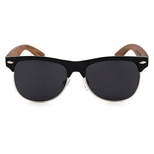 NOVEL Holz-Sonnenbrille | UV400-Schutz | Brillenbügel aus Ebenholz | Polarisierte Gläser | inkl. Etui mit Microfasertuch | Farbe: Braun/Schwarz