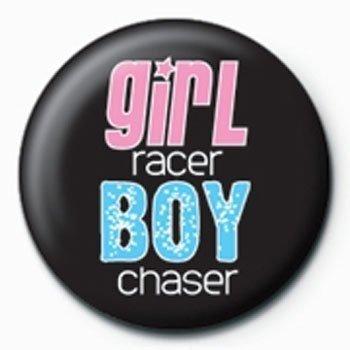Girl Racer Boy Chaser Button schwarz