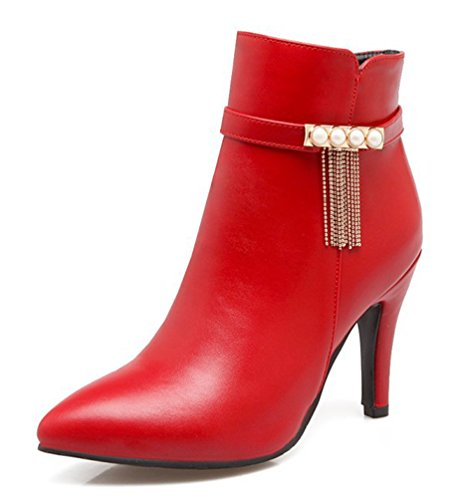 SHOWHOW Damen Perle Quaste Spitz Zehen Kurzschaft Stiefel Mit Absatz Rot 34 EU