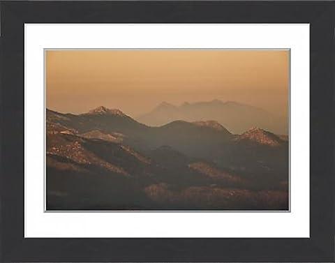 Framed Print of Mountain Range at sunset