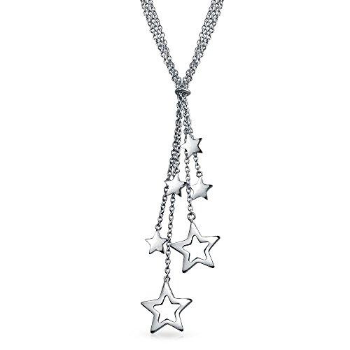 Bling Jewelry Patriotic Sterling Silver Apri stella collana del Lariat