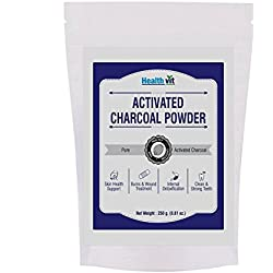 Healthvit Activated Charcoal 250gm For Face Mask, Detoxifies, Helps with Digestion