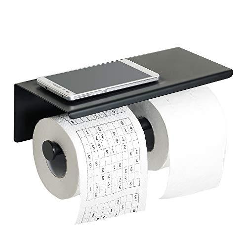 Sayayo Doppel-Toilettenpapierhalter Rollenhalter mit Ablage, optional 3M selbstklebend oder Schrauben montiert, SUS-304 Edelstahl matt schwarz lackiert, EGYT880-B