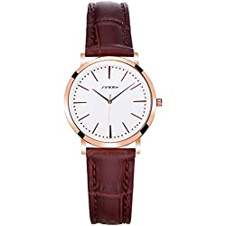 Classic Casual Brown Leather Strap Alloy Analog Women Quartz Wrist Watch, White
