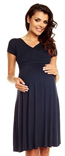 Zeta Ville - Damen - Umstandskleid - Kurzarm - Sommerkleid für Schwangere - 108c (Marine, EU 42, XL)