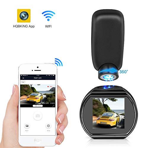 HQBKING Mini Cámara De Coche WiFi Dash Cam 1080p FHD Gran Ángulo de 170°  con G - sensor Detección Visión Nocturna LCD 1.5 Pulgadas de 360 ° Rotate Ángulo Tarjeta de soporte hasta 128G