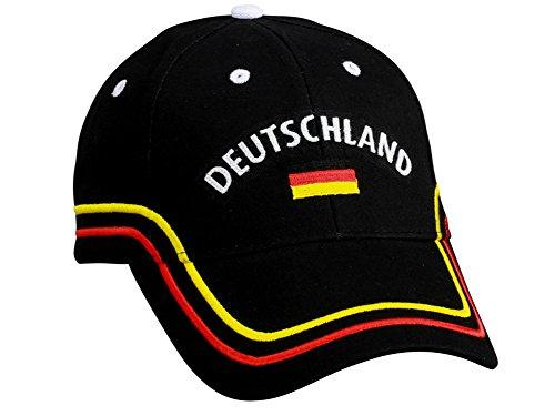 Preisvergleich Produktbild Deutschland EM WM Fancap Europameisterschaft zb für Fußball Fan Fans - Tolle Cap Mütze Hut Accessoires schwarz rot gold