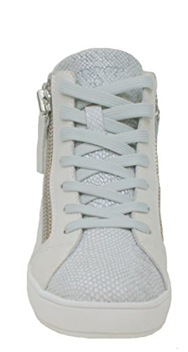 Crime London Stivaletto Donna Zeppa Cm 6 Pelle 2 Zip Grey/White White