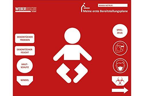 Baby-Bereitstellungsplane von WEBER RESCUE, Geschenk für Feuerwehr-Eltern zur Geburt, 100x80 cm, rot