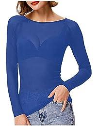 Auifor Frauen Durchsichtige Lange Ärmel Nahtlose Arm Shaper Top Mesh Shirt Bluse