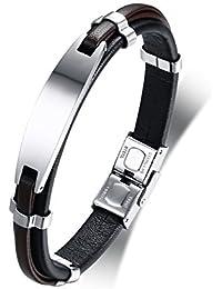 VNOX Bracciale personalizzato personalizzato in pelle di vitello in acciaio  inossidabile per uomo ragazzo regalo inciso b07d8182448