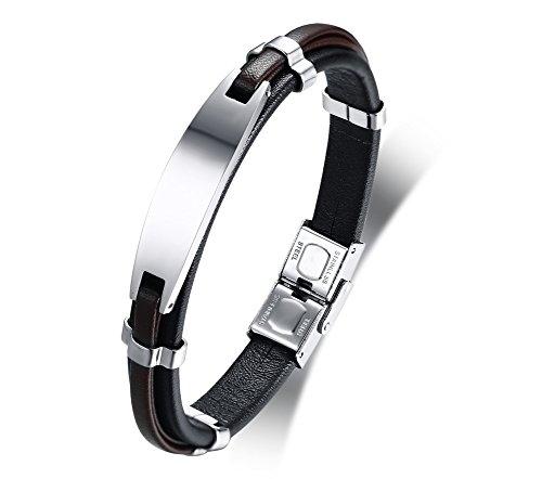 Vnox bracciale personalizzato personalizzato in pelle di vitello in acciaio inossidabile per uomo ragazzo regalo inciso per la festa del papà