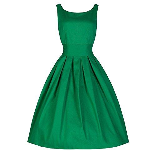 LMMVP Vestidos Mujer Casual,Vestido de Noche del Rockabilly del Partido Retro del ama de casa de Las Mujeres del Estilo del Vintage 50's Swing (XXL, Verde)