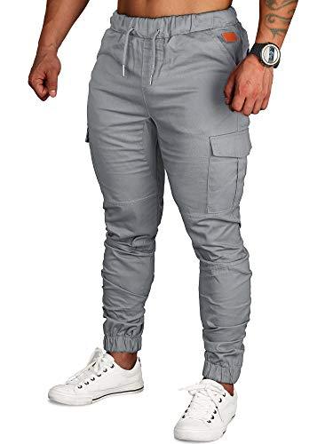 SANMIO Jogger Cargo Herren Chino Jeans Hose Herbst Winter Stretch Freitzeithose, Gr.-29W-30L/ Medium, Grau