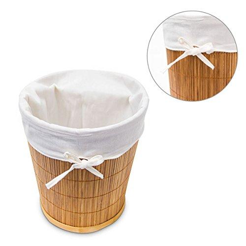 Papierkorb aus Bambus mit Stoffeinlage - 6