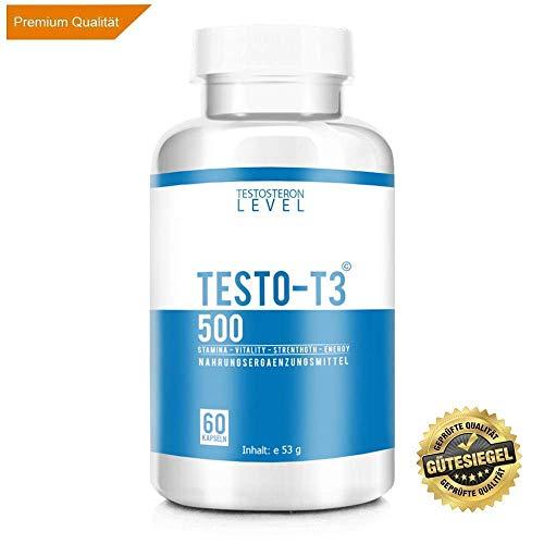 TESTO-T3 500 © - TESTOSTERON BOOSTER EXTREM | Perfekte Dosierung | Muskelaufbau Kapseln | mehr Muskelmasse, Kraft und Ausdauer | Potenz | trockener Muskelzuwachs | Motivation und Focus | 60 Kapseln