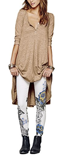 Urban GoCo Femme Chemise 3/4 Manches Longue Tunique Mini Robe Col Boutonné T-Shirt Tops Irrégulière Blouse Kaki