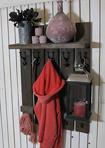 dekorie67 Flur Garderobe aus Holz mit Eisen Haken braun Shabby Vintage fertig montiert