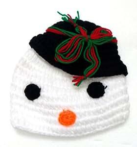 BB.09 - Bonnet Bébé Enfant 0-3 Mois - Bonnet Bonhomme de Neige Noël - Crochet Fait Main - Cadeaux Photos de Naissance