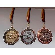 mit Emblem 25mm - mit Einem Emblem Farbe: Gold Schwimmen Medaillen-Band inkl Fanshop L/ünen 20 x Medaillen aus Metall 50mm e225 Schwimmensport