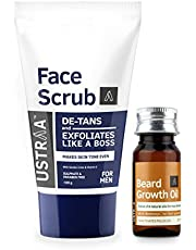 Ustraa Beard Growth Oil - 35 ml and Ustraa Face Scrub De-Tan, 100g