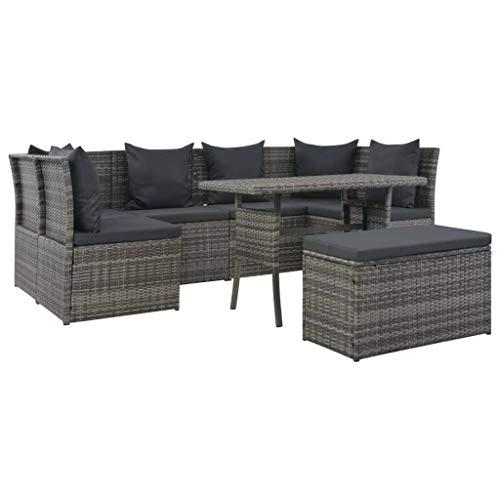 Festnight- Garten Lounge Set Poly Rattan | Ecksofa mit Kissen | Rattan-Lounge Esstisch Gartenm?Bel-Set Sitzgarnitur für 7-8 Personen, Grau