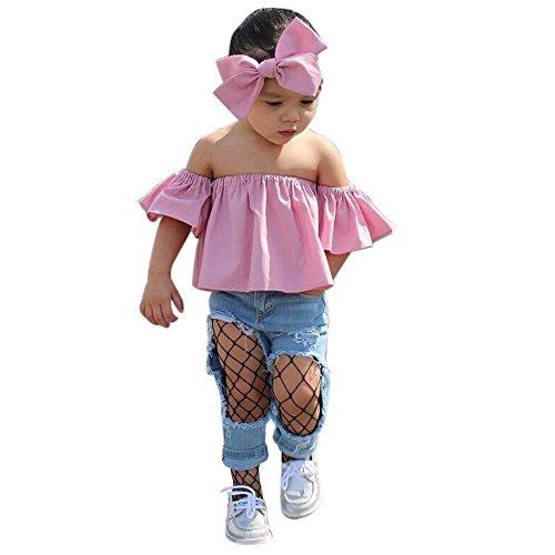 Xshuai Kleinkind Kinder Baby Mädchen Schulterfrei Rüschen T-Shirt Tops Sommer Kleidung Outfits (5-6 Jahre, Rosa)