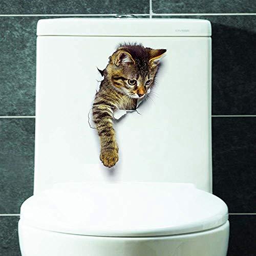 aufkleber Wohnzimmer Schlafzimmer Dekorationen kreative 3D Tier Wandaufkleber Badezimmer WC Aufkleber Wandtattoo Wandgemälde Pvc Dekor Vinyl Aufkleber (25 * 16.5CM, C) ()
