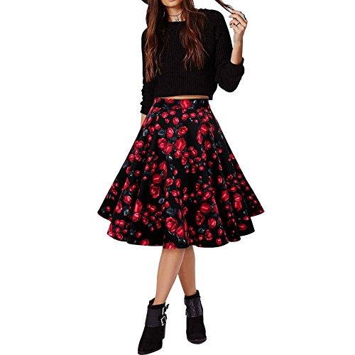 LAEMILIA Damen Vintage Retro Rock Blumendruck Print Mini Kleid Abendrock Faltenrock Skirt (EU M(Tag L), Blumen 1)