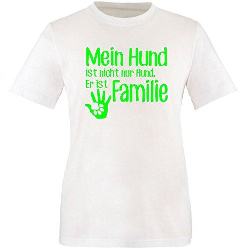 ezyshirt® Mein Hund ist nicht nur Hund! Er ist Familie Herren Rundhals T-Shirt Weiss/Neongruen