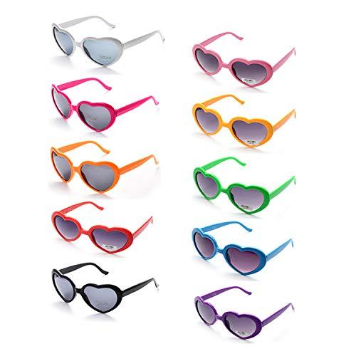 ONNEA Herz Party Sonnenbrille UV Kinder Damen Herren (10-Pack Mehrfarbig)
