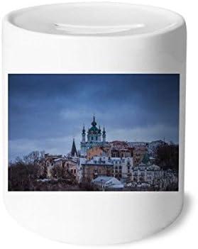 DIYthinker Nuages château Argent Blue banques Sky Box banques Blue d'épargne céramique-Monnaie  s Adultes 3,5 Pouces de Hauteur, 3,1 Pouces de diamètre Multicolore 128fe0