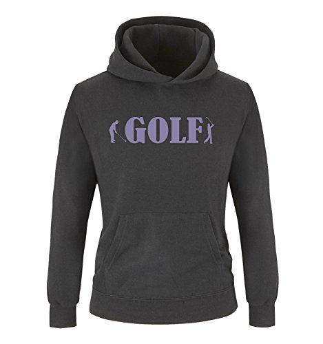 Comedy Shirts - GOLF - Zwei Spieler - Mädchen Hoodie - Schwarz / Violett Gr. 98/104 (Freiheit-golf-shirt)