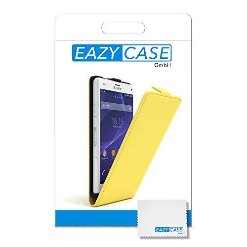 Sony Xperia Z1 Compact Hülle - EAZY CASE Premium Flip Case Handyhülle - Schutzhülle aus Leder in Schwarz Gelb (Flip)