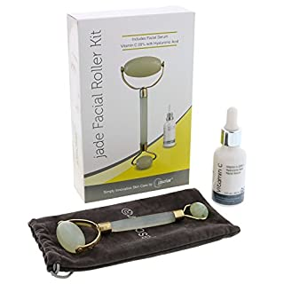 Jade Roller Kit with Face Serum – Skin Therapy Set Includes Natural Stone Massager + Vitamin C Serum – Firms, Tightens Look and Reduces Look of Dark Eye Circles, Fine Lines, Wrinkles + FREE E-Book