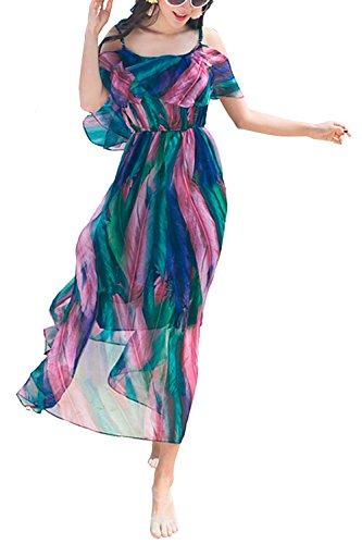 Creti Neues Strandkleid Böhmische Lange Chiffon Kleider Maxikleid Sommer Vacation, Größe  EU 40 / Herstellergröße XL, Farbe Blau (Kurzen Rock Wolle)