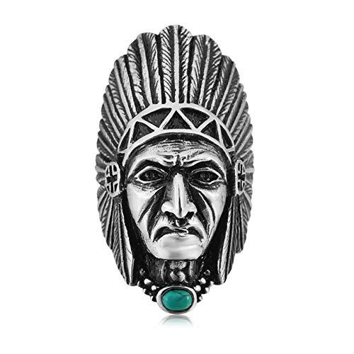 Indianer Ziel Kostüm - Bishilin Edelstahl Ring für Männer Indianer Totenkopf mit Türkis Partnerringe Silber Freundschaftsring Gr.60 (19.1)