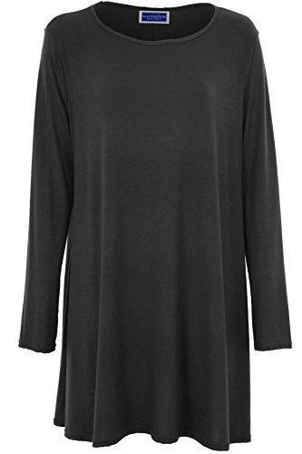 SAPPHIRE Damen Kleid Stretch A - Linie Freizeit Swing Flair Skaterkleid langärmelig Größe 36-54 Dunkelgrau