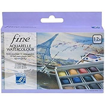 Lefranc Bourgeois 601660 Boîte de 12 Peintures aquarelles avec palette détachable
