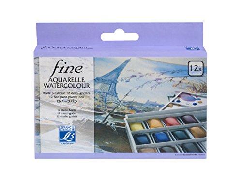 """Lefranc & Bourgeois feine Wasserfarben """" Fine """", Aquarell Set - 12 Farben in 1/2 Näpfen"""