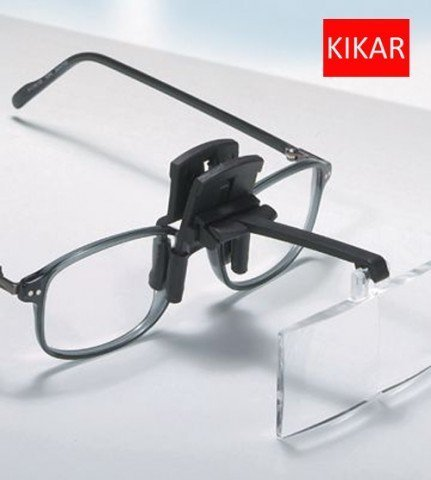 KIKAR Clip-On Magnifier with 4 inter-changeable Lenses - Fit All Specs