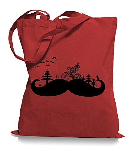 Moustache Land Stoffbeutel | Kult Hipster Retro Tragetasche Bart Classic Red