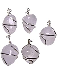 Satyamani Natural Clear Quartz Tumble Gemstone Wrapped For Harmony Quartz Stone Pendant