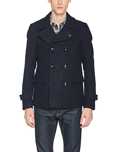 Scotch & Soda Herren Jacke Wool Pea Coat, Blau (Night 0002), Large (Peacoat Double-breasted Jacke)